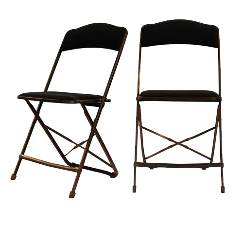 Black Fabric Padded Folding Chair Deluxe ...